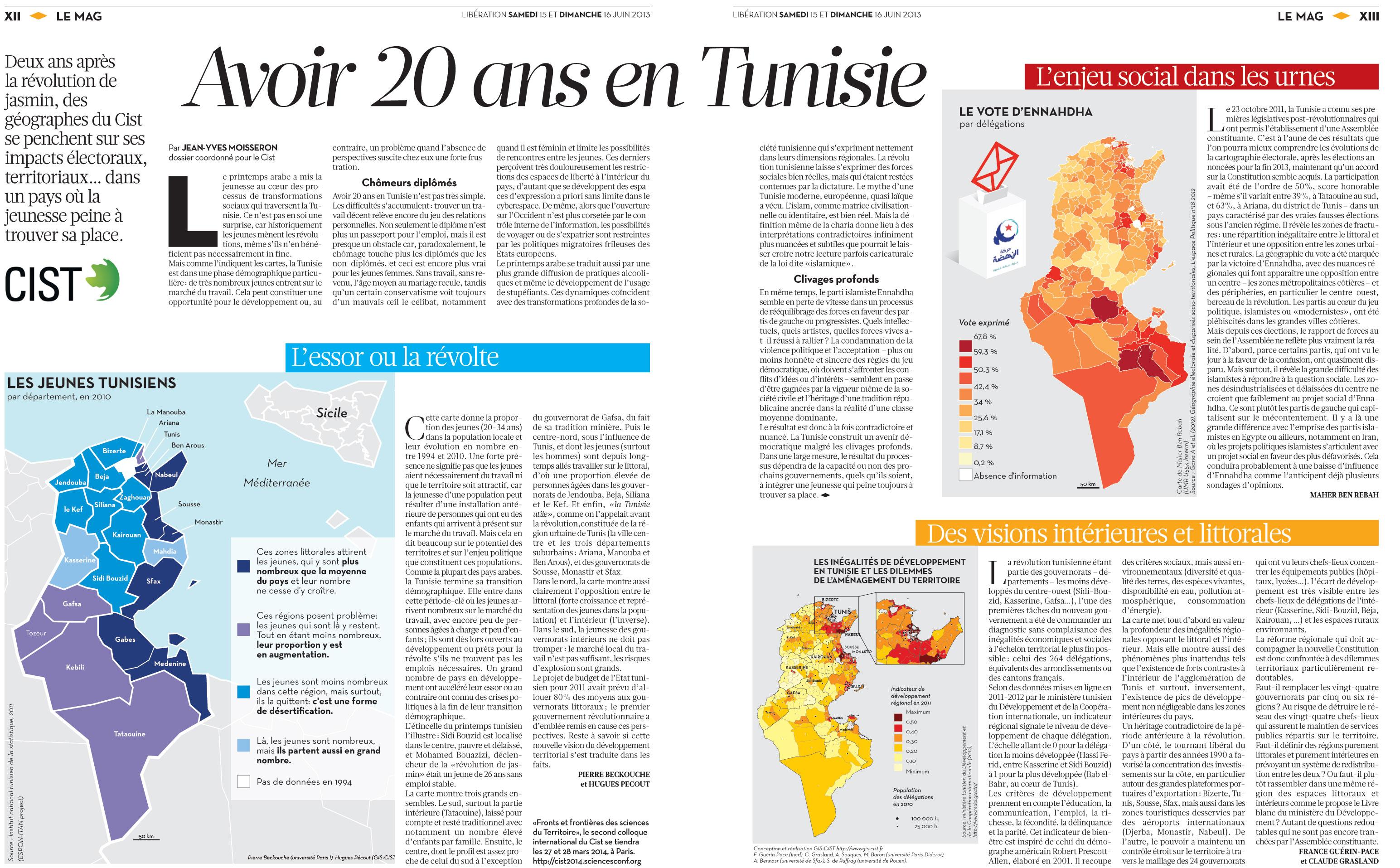 Avoir 20 ans en Tunisie, Libération, 15&16 juin 2013