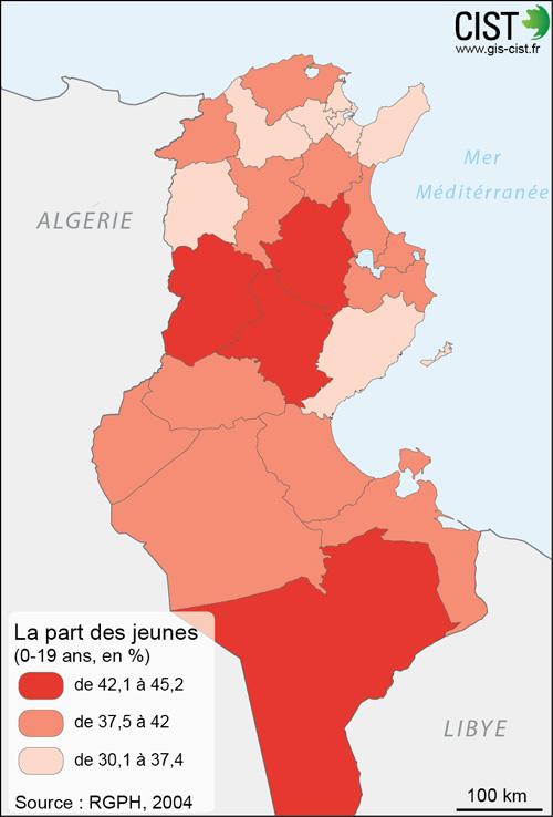 Tunisie : part des jeunes (0-19 ans) - Carte réalisée par Timothée Giraud (CIST)