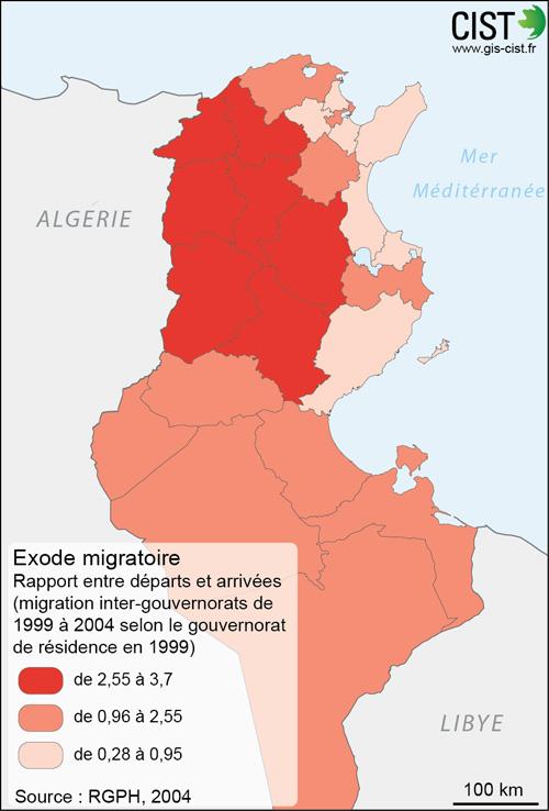 Tunisie : exode migratoire - Carte réalisée par Timothée Giraud (CIST)