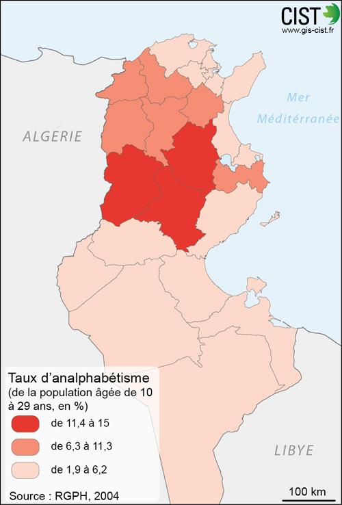 Tunisie : taux d'alphabétisation de la population âgée de 10 à 29 ans - Carte réalisée par Timothée Giraud (CIST)