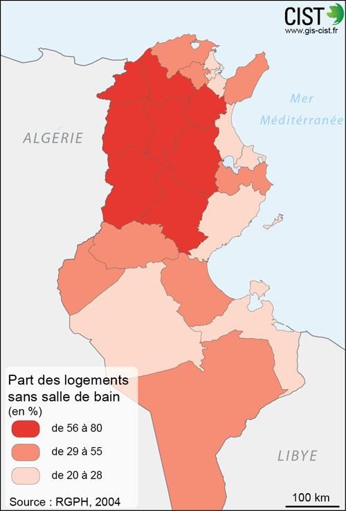 Tunisie : part des logements sans salle de bain - Carte réalisée par Timothée Giraud (CIST)