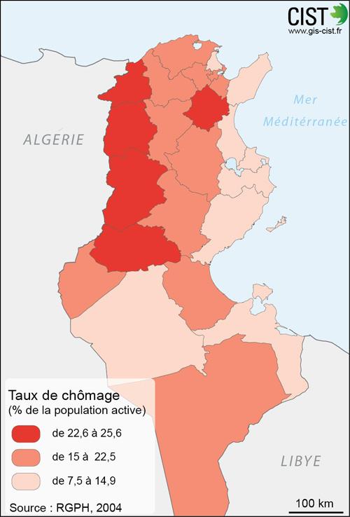 Tunisie : taux de chômage - Carte réalisée par Timothée Giraud (CIST)