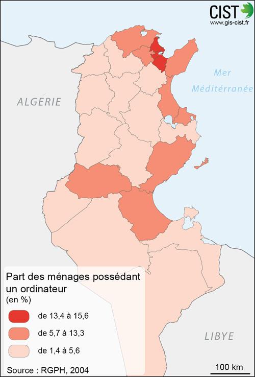 Tunisie : part des ménages possédant un ordinateur - Carte réalisée par Timothée Giraud (CIST)