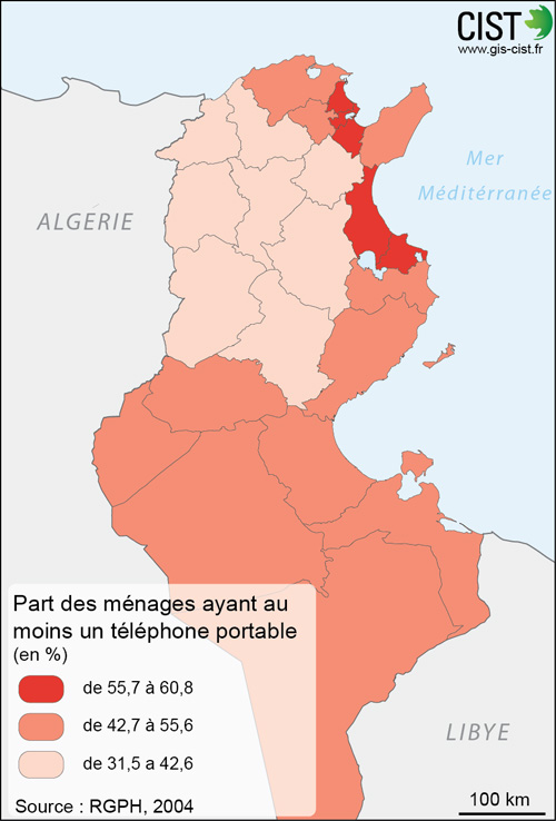 Tunisie : part des ménages ayant au moins un téléphone portable - Carte réalisée par Timothée Giraud (CIST)