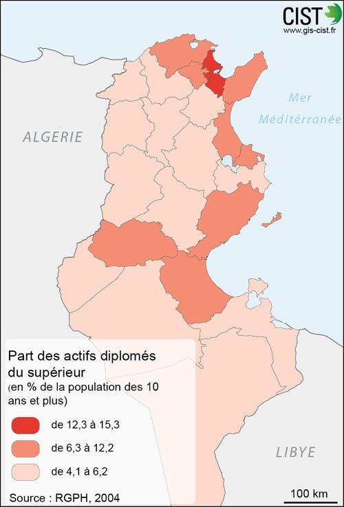 Tunisie : part des actifs diplômés du supérieur - Carte réalisée par Timothée Giraud (CIST)