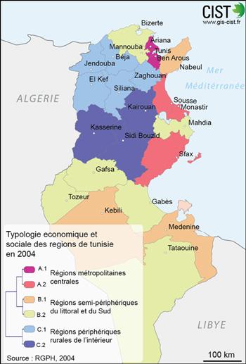 Typologie économique et sociale des régions de Tunisie en 2004 Carte réalisée par Timothée Giraud (CIST)