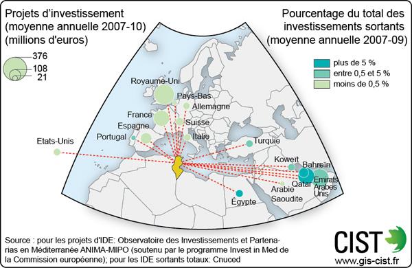 Investissements directs étrangers - Carte réalisée par Timothée Giraud (CIST)