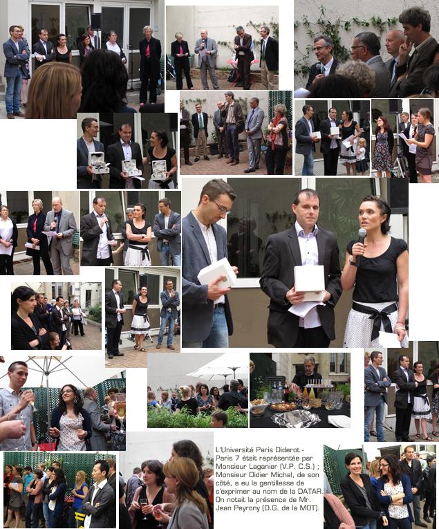 cérémonie de remise du Cristal du CNRS à Bernard Corminboeuf, Nicolas Lambert et Isabelle Salmon, ingénieurs de l'UMS RIATE, 9 juillet 2012
