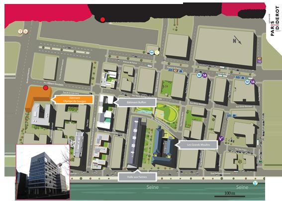 plan de localisation du bâtiment Olympe de Gouges sur le campus Paris Didero