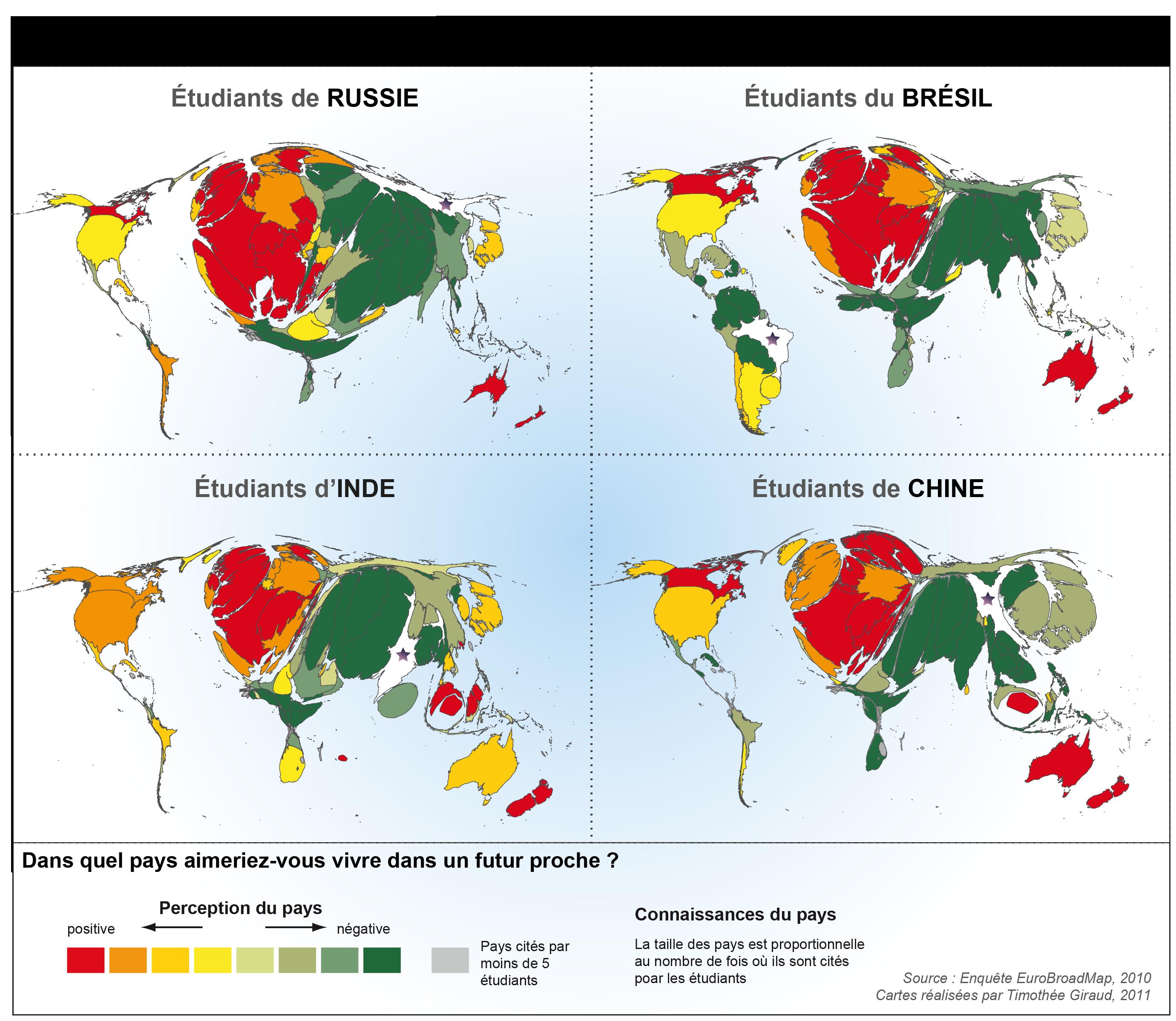 Une Europe attractive pour les étudiants des grands pays émergents Explication des cartes du projet EuroBroadMap sur http://www.ums-riate.fr/mapper/