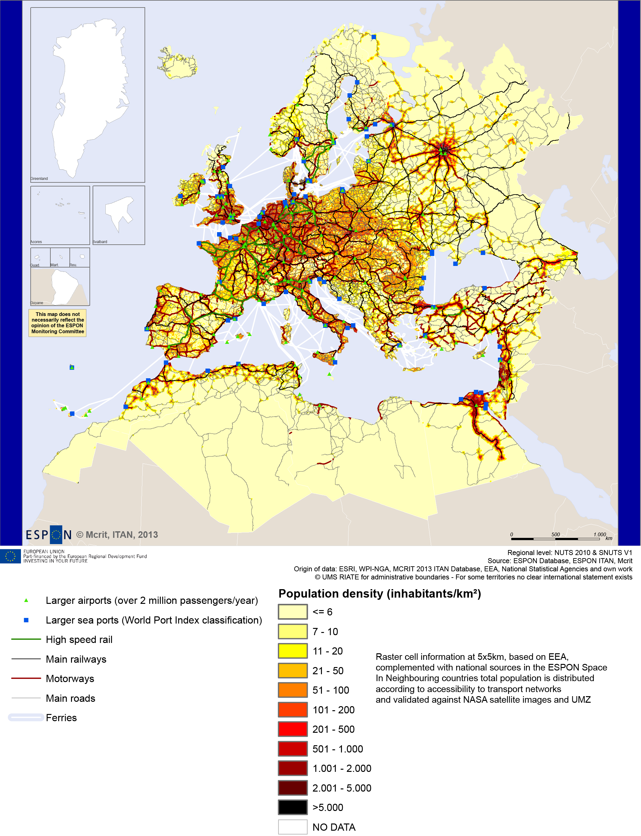 Map 1 - Demographic density and main transport network in the wider European region, ca 2010