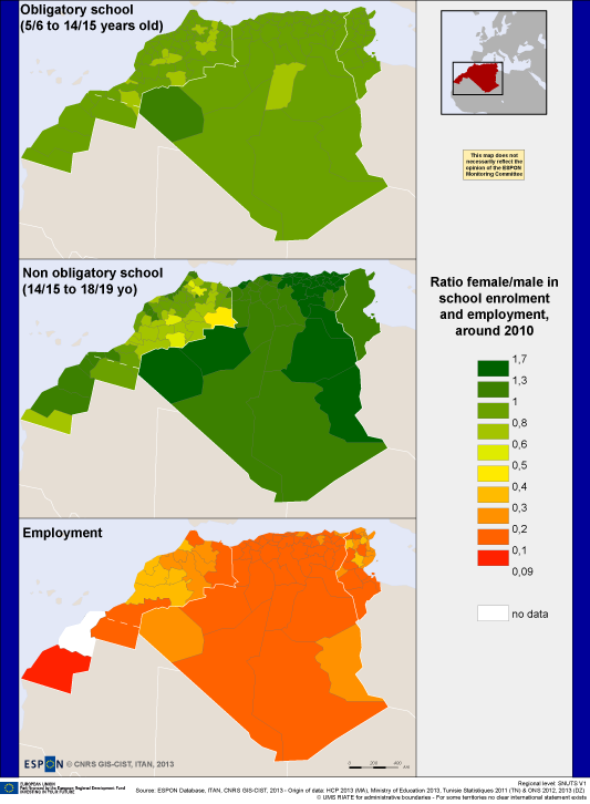 Map 2. The gender issue viewed through access to education and to labour market. The case of Maghreb