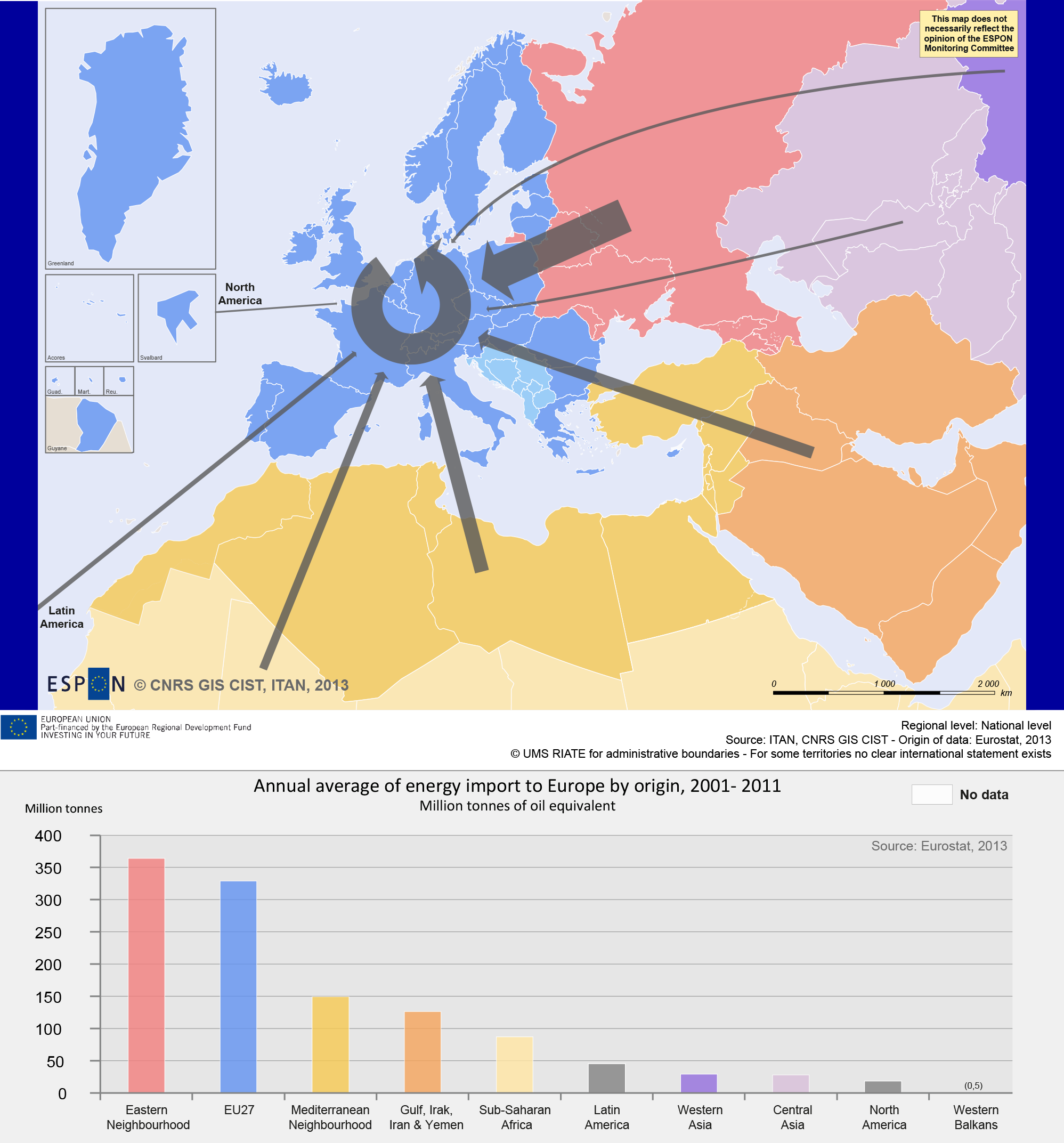 Map 2. Energy imported in Europe: the key role of the Neighbourhoods
