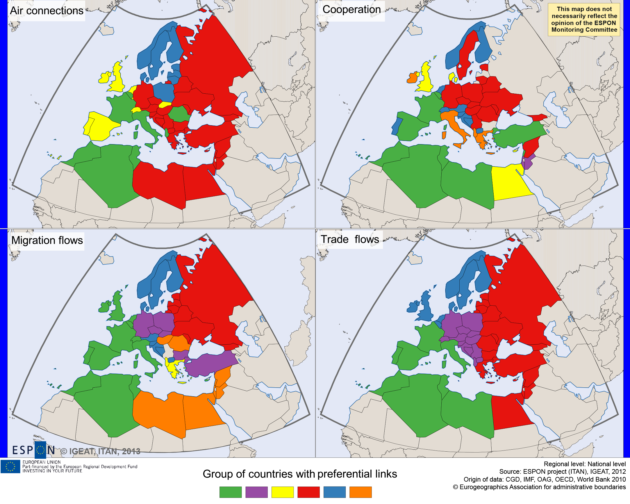 Map 6. The space of privileged relations within wider European region (UE+Neighbourhoods), 2010