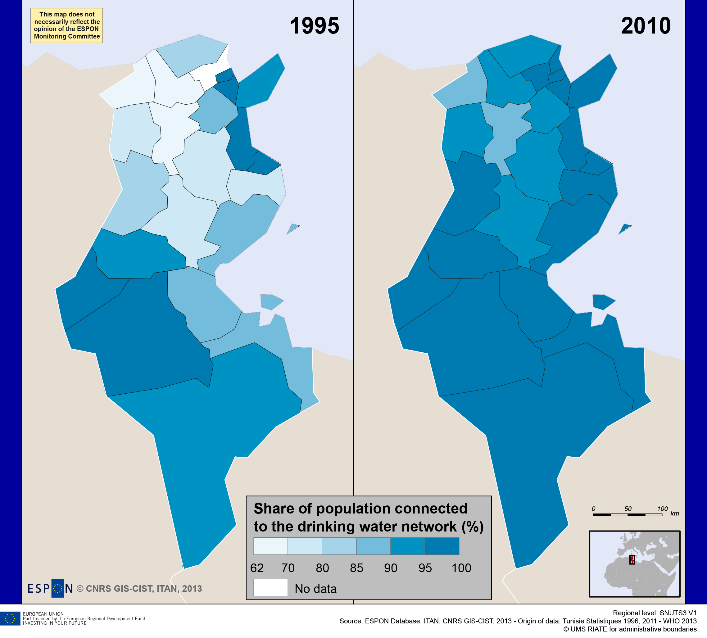 Map 2. Is the progress in access to drinkable water sustainable? The case of Tunisia