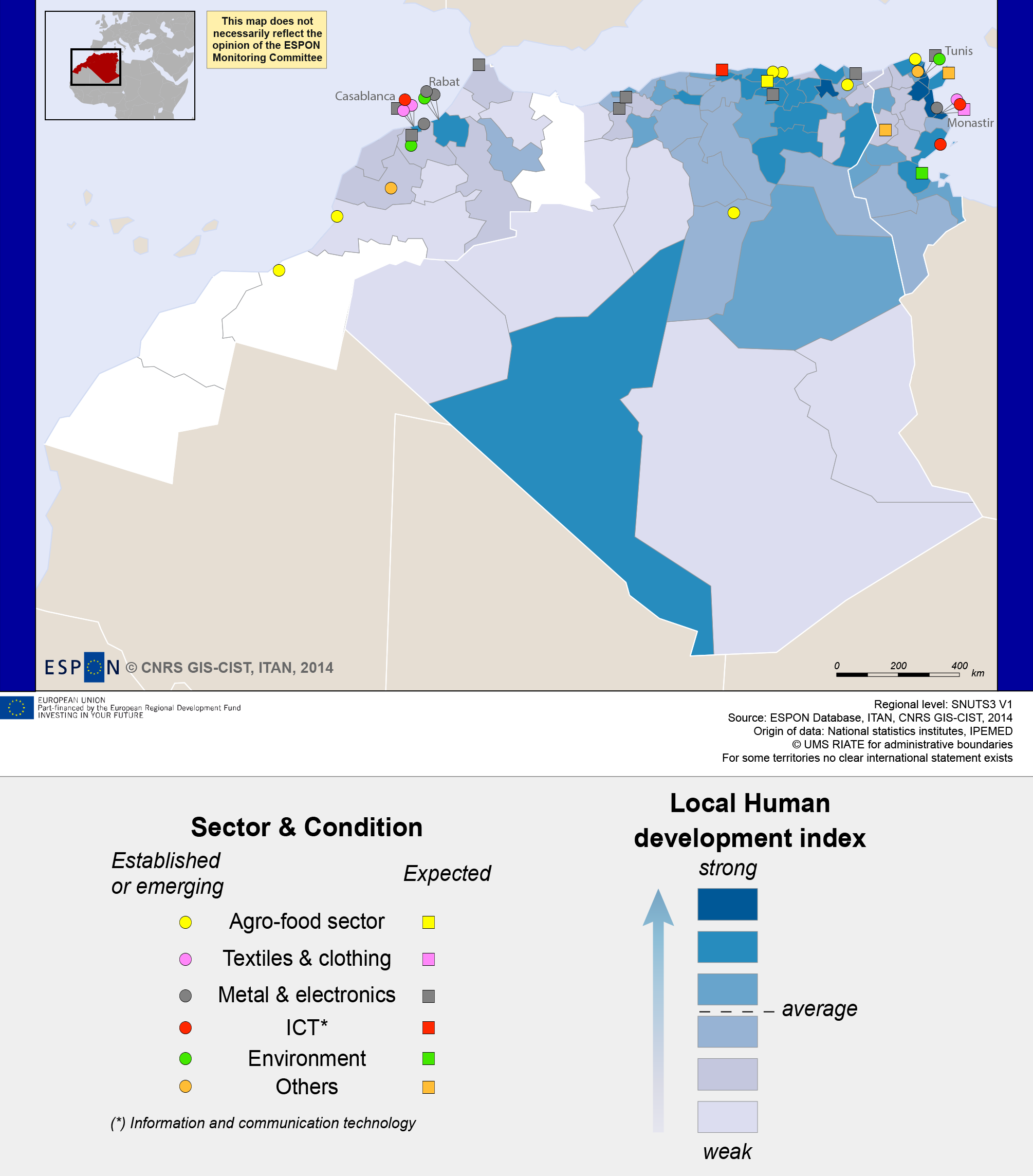 Map 4. Clusters in Maghreb: shifting from a rent to an innovative economy