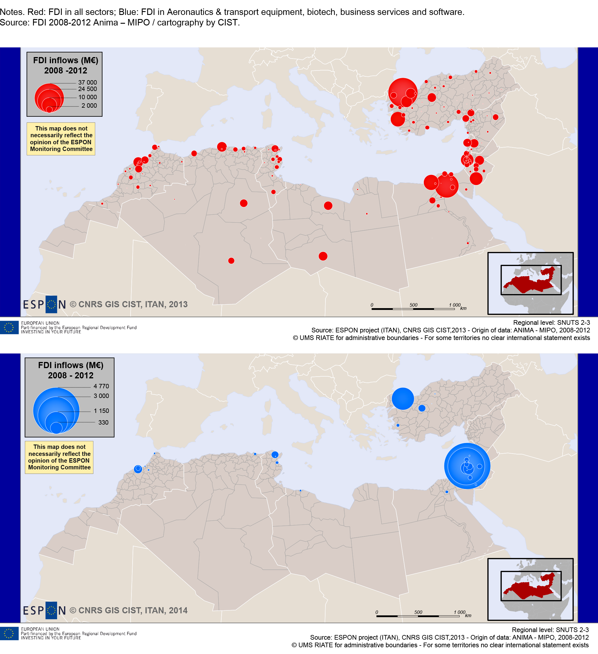 Maps 3. Local FDI inflows in Mediterranean ENCs. Not only large urban areas, not only low tech