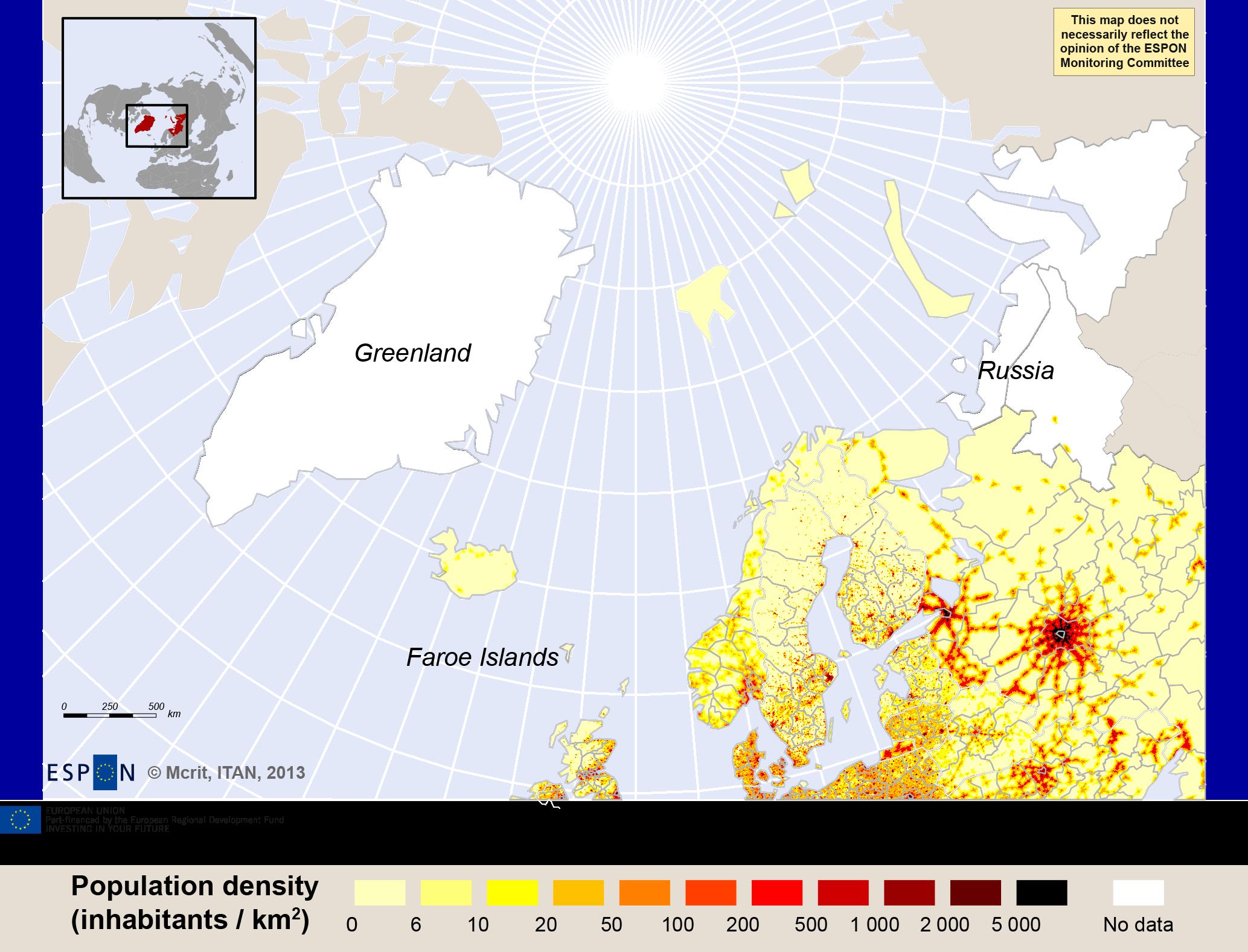 Map 1. Density of population, ca 2010