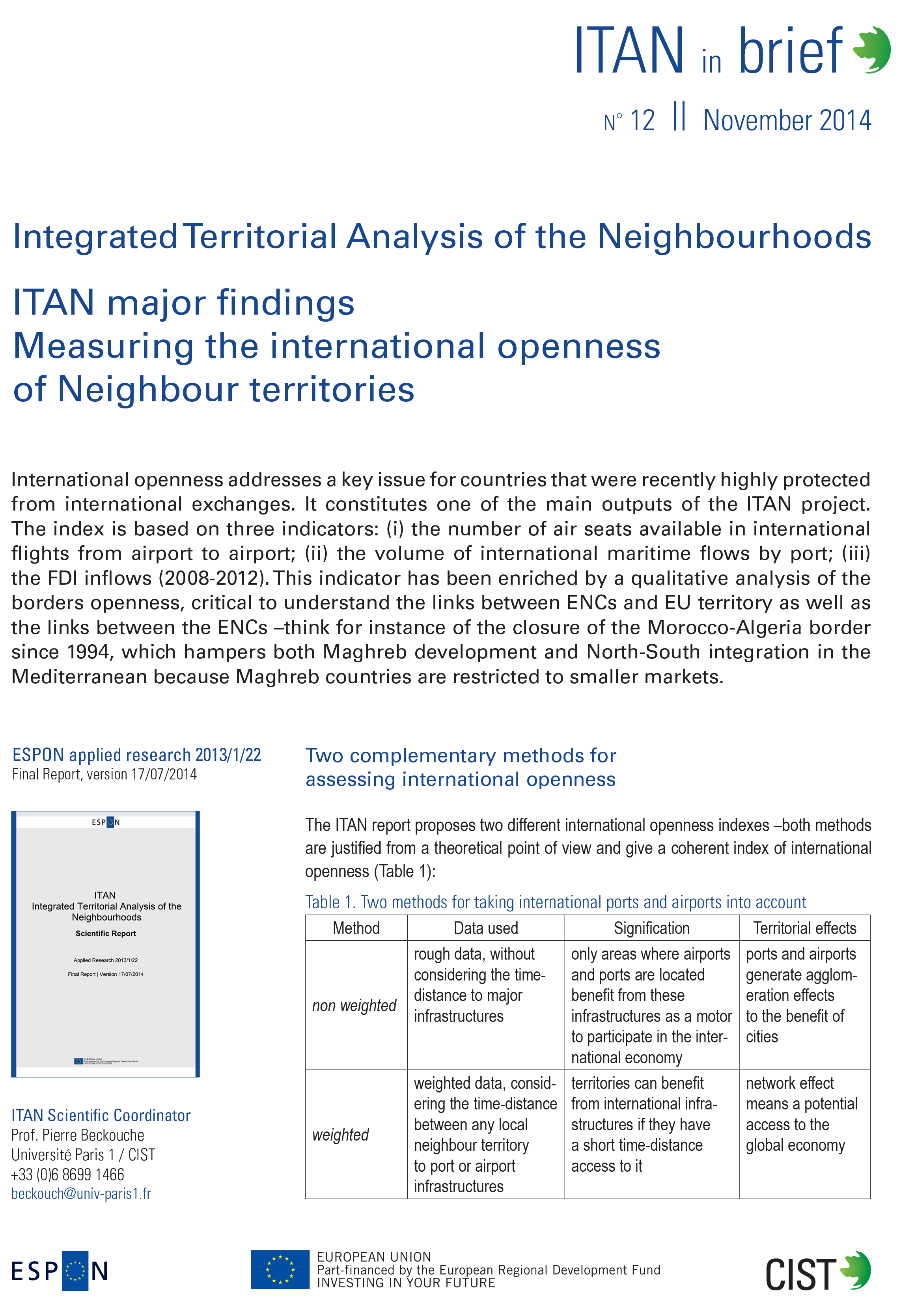 ITAN in brief n. 12 - Measuring the international openness of Neighbour territories, October 2014