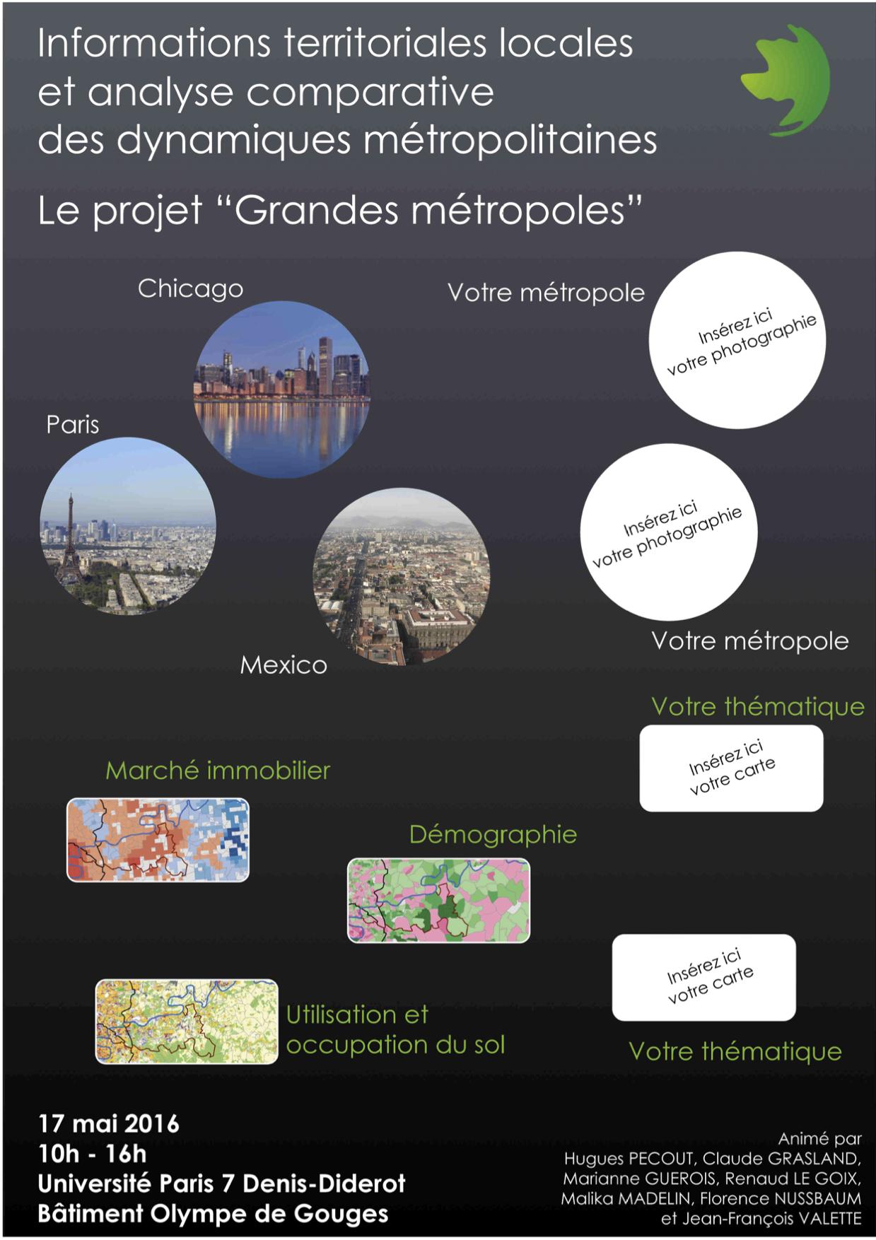 Affiche du 1er atelier du projet Grandes Métropoles