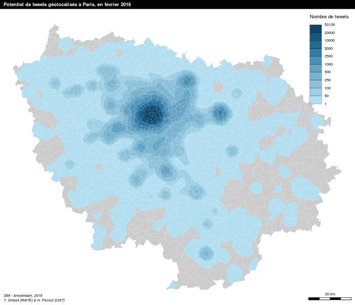 Projet Grandes métropoles - Potentiel de tweets géolocalisé à Paris, en février 2016