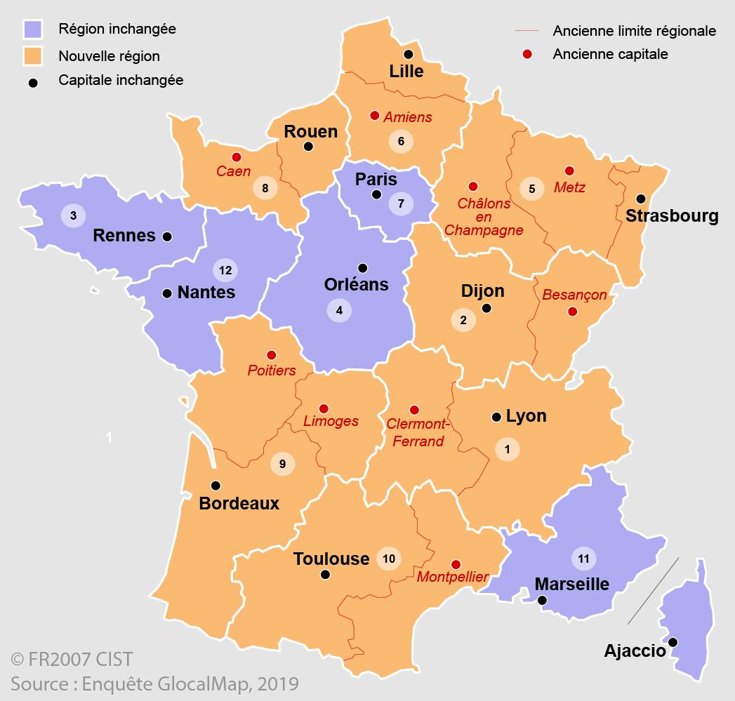 Dossier du CIST n° 7 - Figure 4. Découpage régional de la France, avant et après la réforme territoriale de 2015
