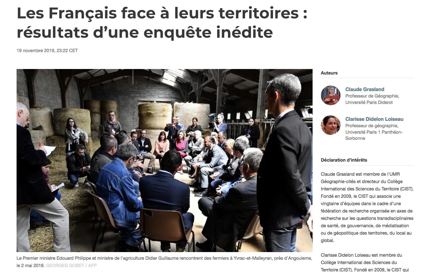 Les français face à leurs territoires : une enquête inédite, article dans le media The Conversation