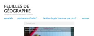 Site du projet Feuilles de géographie